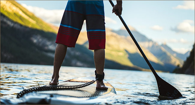Paddle boarding on Waterton Lake