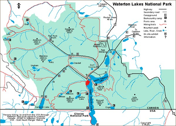 Map of Waterton National Park